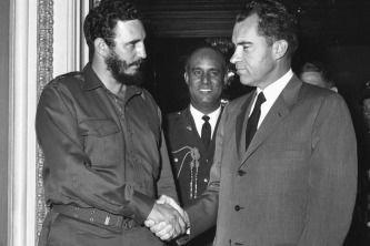 Fidel durante su encuentro de 15 minutos con Nixon